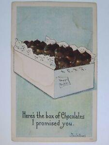 Antique 1917 Black Americana Babies Box of Chocolates I Promised You Postcard