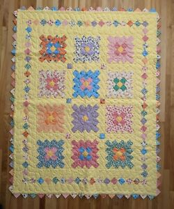 Handmade Quilted Baby Blanket Quilt Throw Yellow Crib Diamond Pink Banner Dogs