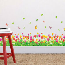 Girl Bedroom Wall Stickers Tulip Flowers and Butterflies  DIY Decal Mural Decor