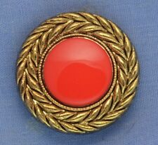25mm Red / Gold Shank Button