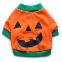 Halloween Pumpkin Costume Small Pet Dog T Shirt Clothes Puppy Cat Vest Apparel
