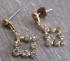 boucles d'oreilles percées clou bijou vintage couleur or cristaux diamant 3400