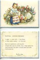 VINTAGE SCANDINAVIA GIRL CAT FLOWER SWEDISH PANCAKES RECIPE 1 CHRISTMAS ART CARD