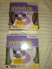 19-pk Verbatim Dual Layer DVD+R Cakebox - 2.4x 8.5GB 240 mins w AZO #95166 -19!!