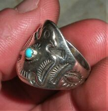 VINTAGE c1940 NAVAJO THUNDERBIRD STERLING SILVER TURQUOISE RING NICE STAMPS vafo