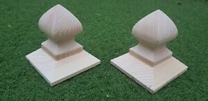 """8 × WOODEN BISHOP'S HAT FINIAL  FENCE POST CAPS FOR  3"""" (75mm) FENCE POSTS."""
