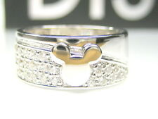 size11  0.87CT AUTH DISNEY MICKEY MOUSE CZ STERLING PLATINUM 8MM WIDE BAND RING