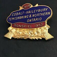 New listing VINTAGE CURLING PIN COBALT-HAILEYBURY TEMSKAMING 1906 BONSPIEL 1953 (Birks)