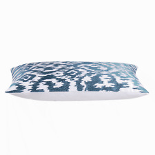 """Petrol Blue and White Rectangle Funky Retro Cushion Cover  30 x 50 cm 12x20"""""""