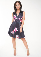 Womens Ladies New Floral Print V Neck Black Party Evening Skater Dress Sz 8 - 14