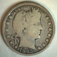 1895 US Barber Quarter Silver 25C Coin Good Condition Twenty Five Cent M4