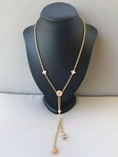 AVON faux pearl & citrine gold tone chain necklace wedding formal mother bride