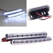 2 x Lámpara Luz Diurna Blanco 8 LED DRL Coche para Seguridad Automóvil Coche