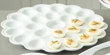 Everyday White® by Fitz and Floyd® Flower Deviled Egg Platter. Serving Plate