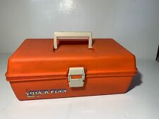 Vintage Orange Huck Finn Fishing Tackle Box Rare