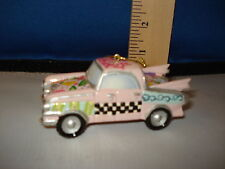 Car Ornament 1950s Car Pink with Checkerboard on side resin 5001304p 183