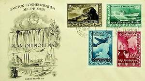 ARGENTINA 1951 PLAN QUINQUENAL 4v ILLUSTRATED BUENOS AIRES CANCEL FDC