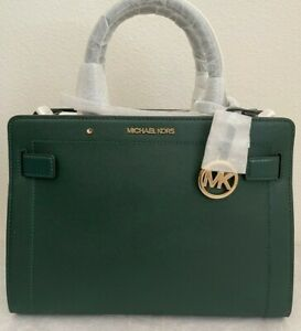 NWT MICHAEL KORS Rayne Medium Saffiano Leather Satchel Bag $448 Racing Green