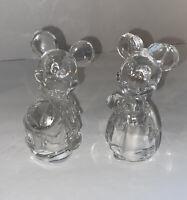 Disney Lenox Lead Crystal Mickey & Minnie Bride & Groom Salt & Pepper Shakers