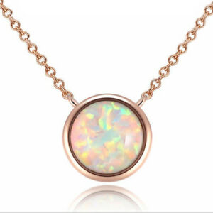 Valentine's Gift Classical Rose Gold Plated White Fire Opal Chaming Necklace
