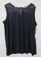 Dex Clothing Women's Plus Cap Sleeve Lace Yoke Pullover Top 2X Black  NWT
