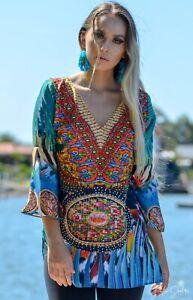 Silk Satin Long Frill sleeve Kaftan Top with Embellishment