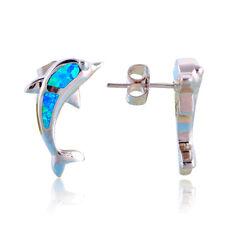 Pendientes Opalo de Fuego azul forma delfin en Plata de Ley - Mod. DOLPHIN