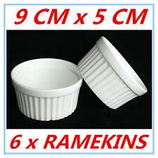 6 X SMALL WHITE CERAMIC RAMEKINS RAMEKIN BAKING PARTY EVENT KITCHEN OVEN SAFE AP
