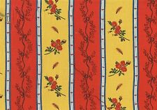 Covington Fabric Red Yellow White Floral Stripe Cotton Print Drapery Upholstery
