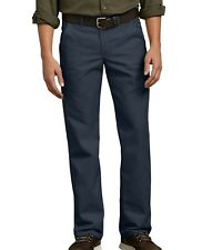 Dickies Pants Mens Flat Front Flex Straight Leg Slim Fit Navy Blue Size 40x30