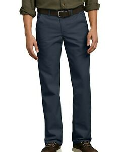 Dickies Pants Mens Flat Front Flex Straight Leg Slim Fit Navy Blue Size 40x30