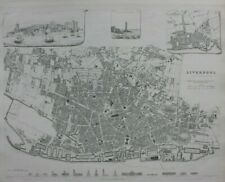 LIVERPOOL CITY PLAN, ENGLAND, original antique map, SDUK, 1844