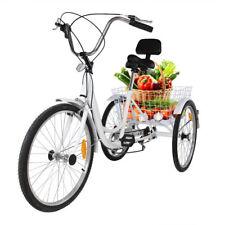 "White 3-Wheel  24"" Tricycle Adult Bike Bicycle Trike Cruise 6-Speed W/ Basket"