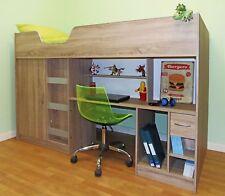 Lifestyle High Cabin Bunk Single Childrens Kids Bed Desk Wardrobe Oak (R140OAK)