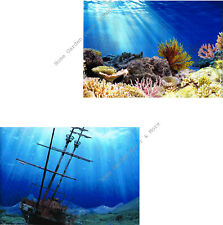 "TOP FIN Aquarium Background Ocean Coral Reef Shipwreck Double sided 12""x24"""