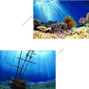 """TOP FIN Aquarium Background Ocean Coral Reef Shipwreck Double sided 12""""x24"""""""