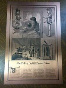 THE TALKING DOLL OF THOMAS EDISON Copper Lithograph Textured Print Vintage Repro
