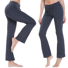 US Women Yoga Pants Athletic Foldover Stretch Casual Soft Wide Leg Leggings M572