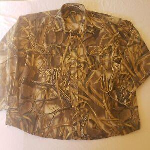 Cabela's Advantage Wetlands Camo Button Up Shirt Men's Size XXL 2X Hunting EUC