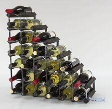 Cranville Botellero Almacenaje 27 Botella Negro Madera y Metal Montado