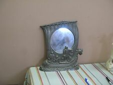 """Old Handmade Pewter Frame Mirror Americana Discovery of America 12"""" x 11"""""""