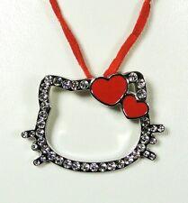 Pendentif Hello Kitty coeur rouge cordon rouge