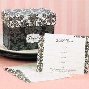 Damask Recipe Card Bridal Shower Invitations 25/pk