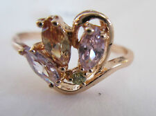 Ring Size 9.5 CZ Cluster 14K Pink Gold Filled Topaz Beautiful Colors NWT #8