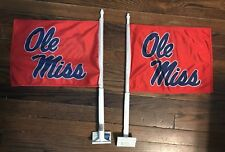 Ole Miss Flags Rebels Logo Car Flags- Red LOT OF (2)