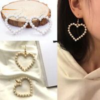 Fashion Sweet Heart Shape Simulated Pearl Hook Drop Earrings Women Jewelry