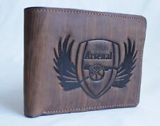 Arsenal Mens  Wallet Real Leather Brown card holder coin pouch Xmas Gift New -UK