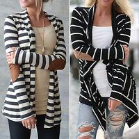 Womens Long Sleeve Striped Cardigan Sweater Coat Jacket Slim Outwear Autumn Tops