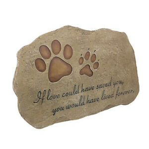 Pet Memorial Stone Cat Dog Paw Headstone Grave for Garden Marker Tombstone