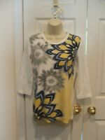 Macy's NWT *STYLE&CO Sport*  WHITE FLORAL 3/4 SLEEVE Embellished TUNIC Top XS